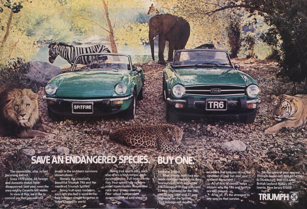 an awesome old ad for Triumph cars the Spitfire and TR6. \